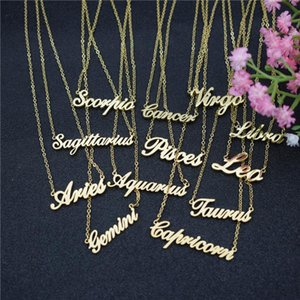Dozen Virgo Libra Scorpio Sagittarius Capricorn Aquarius Pisces Zodiac Letter Constellations Pendants Necklace For Women VFF Chains