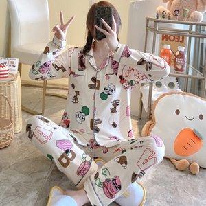 Autuman women elegant printing soft fabric sleepwear long sleeve & pant pajamas fashional style