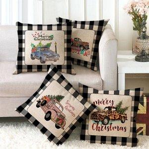 45*45cm plaid Christmas Tree deer Elk snowman Pillow Case Xmas print Throw Cushion Cover Home Sofa Decor Pillowcases 22 styles Z4301