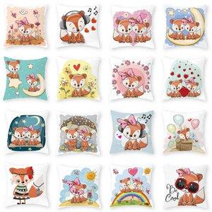 Pillow cartoon fox series peach skin velvet car sofa waist cushion cover