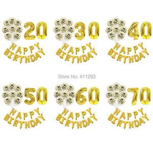 20 30 40 50 60 70 birthday balloon gold silver anniversary birthday party decoration number foil balloon happy birthday banners Y0923