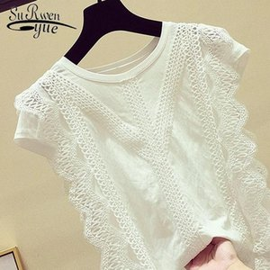 Womens Clothing Blouses For Woman 2021 Short Sleeve 4XL Plus Size Shirts White Black Solid Ladies Tops Lace Hollow Out 4835 50 Women's