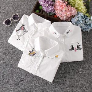 Shirts Kids White Blouse Spring 2021 Bottomin School Girls Long Sleeve Pink Tops Baby Floral Cotton Shirt For 3-12Years Clothes