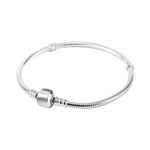 Fabrika Toptan 925 Ayar Gümüş Kaplama Bilezikler 3mm Yılan Zincir Fit Pandora Charm Boncuk Erkekler Kadınlar Için Bilezik Takı Yapımı