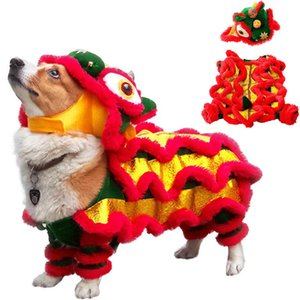 Net Red with Bell Pet New Year Dragon Lion Dance Dog Cat Clothing W8UP