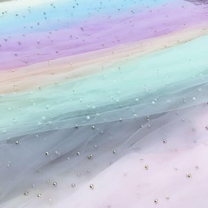 Width 70X100CM Pearls Tulle Fabric Sequin Mesh for Party Stage Wedding Dress Skirts Decoration Organza Colorful Fabrics1