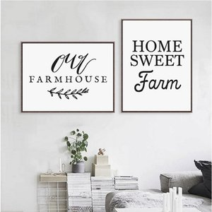 Home Sweet Calligraphy , Our Farmhouse Art Print Canvas Painting Country Farm Kitchen Decor KA9V