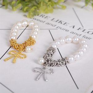 Imixlot Sweet Round Simulated Pearl Bowknot Gold Pendants Elastic Bracelet Women Charm Jewelry Beaded, Strands