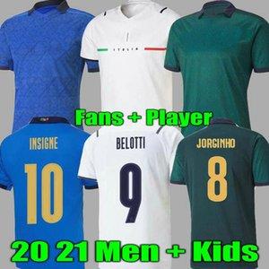 المشجعين لاعب النسخة 2021 إيطاليا لكرة القدم جيرسي بعيدا Belotti Jorginho Insigne Verratti Bernardeschi Chiesa Pellegrini Kean Men + Kids 20 21 Foo