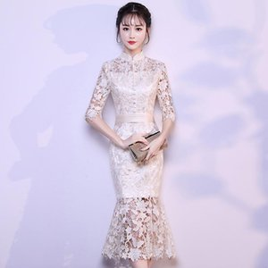 Hollow Out Champagne Lady Trumpet Dresses Vintage Button Cheongsam Skirt Elegant Slim Half Sleeve Mid-Length Wedding Prom Gown Ethnic Clothi