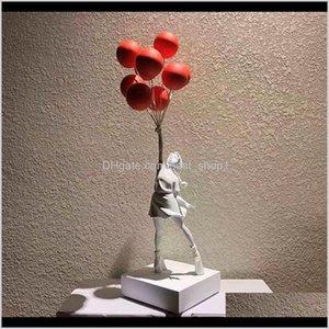 Sanat ve El Sanatları Lüks Balon Heykelleri Banksy Uçan Balonlar Kız Sanat Heykel Reçine Zanaat Ev Dekorasyon Noel Hediyesi 57 cm G5 EWXAA