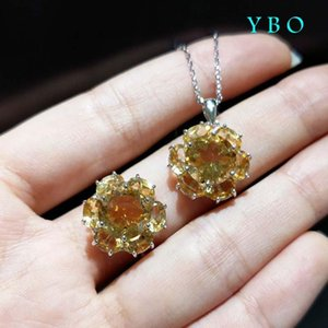 O , Natural Citrine Gemstone Beautiful Flower Design 925 Sterling Silver With 18 K White Gold Plated Elegant Jewelry Set Bracelet, Earring E