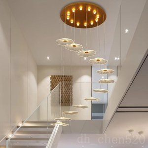 Chandelier for rotating stair Modern LED hanging suspension lamps in the duplex apartment hotel villa lobby lights luminaire