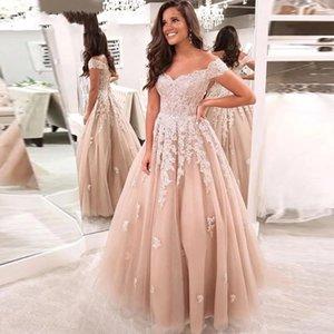 Off the Shoulder A Line Lace Wedding Dresses Appliqued Sweep Train Tulle Plus Size Bridal Gowns Vestidos De Novia