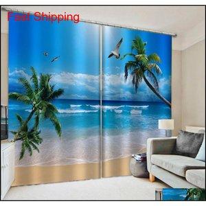 Drapes Custom Blue Beach Curtains 3D Window Luxury Living Room Decorate Cortina Nature Scenery Curtain 7Nbb0 Tjgkr