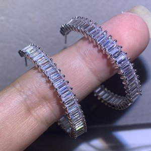 Classical Luxury Jewelry 925 Sterling Silver Semicircle Earring Princess Cut White Clear 5A Cubic Zirconia CZ Diamond Women Stud Earrings