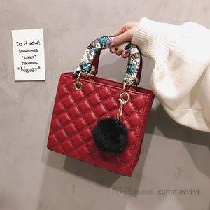 Luxury Children printed Silk scarves handbags women diamond lattice quilted square one shoulder bags lady style girls pompon pendant crossbody bag Q2157