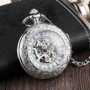 Fashion Creative Transparent Flip Sier Men's Pocket Simple Roman Digital Classic Mechanical Watch