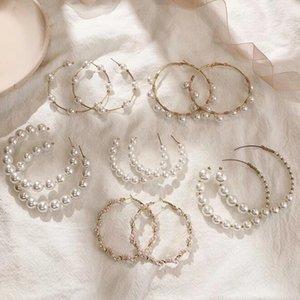 Trendy C Shape Earrings For Women Simulated Pearl Beads Elegant Hoop Earrings Vintage Semicircle Pendientes Party Gift