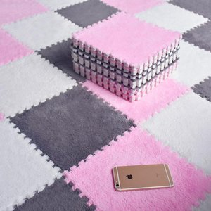 Carpets 10 20 30pcs DIY Nordic Floor Mat Puzzle Plush Mats Splicing Carpet Velvet Bedroom Rooms Children Girls Pink