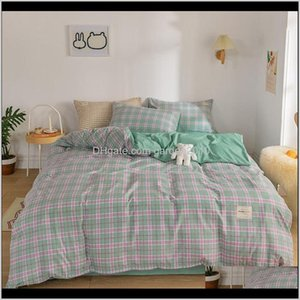 Sets Supplies Textiles & Garden Drop Delivery 2021 Japanese Plaid Four-Piece Girl Heart Washing Quilt Cover Cute Bed Sheet Three-Piece Home T