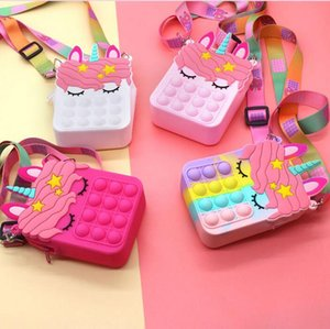 Fidget Sensory Bubble Bretelle Shoulder Bag Favor Cellphone Straps Finger Push Phone Pouch Case Change Coin Purse Decompression Unicorn Popping Toys for Girls Kids