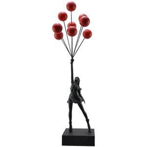 Moda Globo Chicas Estatuas Banksy Flying Globos Girl Art Sculpture Resin Craft Decoración del hogar Regalo de Navidad