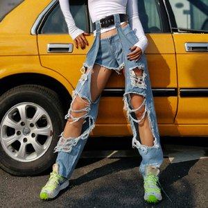 2020 Spring Summer New Harajuku Designer Stylish Women Hole Destroyed Beggar Denim Jeans Europe Casual Long Pants Two Piece Set