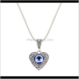 S2049 Fashion Jewelry Hollow Out Heart Evil Eye Necklace Blue Eyes Pendant Necklaces Y9Huk Nv2Bp
