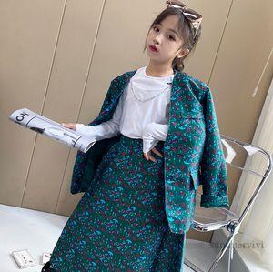 Старые дети, цветочные напечатанные напечатанные одежды для девочек V-образным вырезом Одиночная погружаясь с длинным рукавом Blazers Eartwear + юбка 2 шт. Queen Van Childry Outfits Q0973