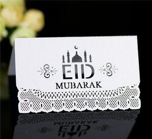 Eid Mubarak Party Seat Card 100pcs lot Ramadan Paper Table Invitation Hollow Out Place Cards Muslim Islamic Festival Decor GGA4687
