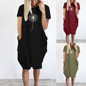 Summer Women's Dress Fashion Print Short Sleeve Casual Midi With Pockets Ladies Loose Plus Size T-shirt Dress#35 Dresses