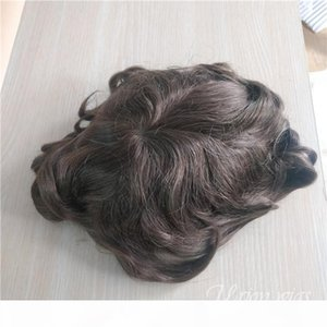 Brown color lace with thin skin pu base 16cm*24cm indian hair Free style V-injected hairline invisible custom toupee for black men