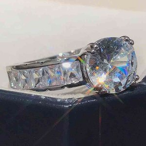 AprilGrass Brand Fashion High-quality Silver Plated Wedding Rings Luxury Inlaid Cubic Zirconia Engagement Promise Ring for Women Jewelry