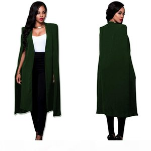 S-4XL Fashion Cloak Cape Blazer Women Autumn Winter Coat Lapel Split Long Sleeve Casual Suit Jacket Outerwear Workwear Plus Size
