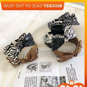 Coreano leopardo arco pano pu couro splicing pacote de cabelo borda larga pressionar headband moda versátil cocar