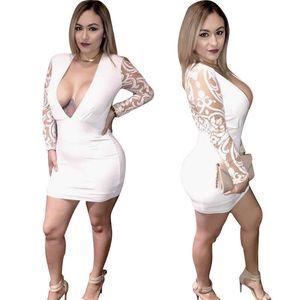 2021 Vestidos para mujer Blanco Moda Sexy Un paso Vestido Profundo Cuello en V Malla Jacquard Falda de manga larga