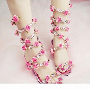Women Wedding Sandals 2019 Crystal and Pink Flower Women Gladiator Sandal Summer Dress Shoes Wedge Heel Open Toe Bridal Boots