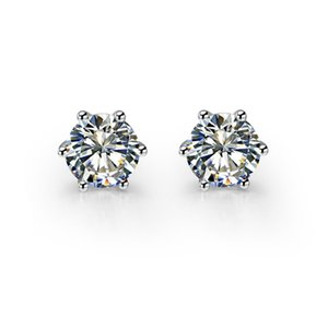 스털링 실버 6 Prongs 설정 지르콘 다이아몬드 스터드 귀걸이 여성을위한 925 스탬프 18K 화이트 골드 도금 여성 보석