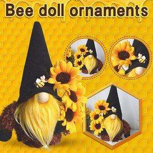 Bee Festival Mother's Day Knitted Plush Doll Ornaments Cute Spring Flowers Dwarf Sunflower Faceless Elf Decorations Desktop Ornament