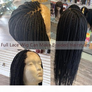 SHUOWEN 12~28 Inches HD Transparent Full Lace Synthetic Braided Remy Hair Wigs Simulation Human Hair Wig Perruques FYSK-FL-04