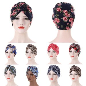Этническая одежда для печатания тюрбан капота капота из булочка цветного хлопка верхний узел Внутреннее Hijab Caps African Twist Headwrap Женщины головы обернуть Индия шляпа хиджабсов