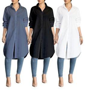 Kalenmos Large Size Women Blouses Fashion Women's Mid-length Classic Shirts Solid Color Wild Pure Color Knee-length Long Coat