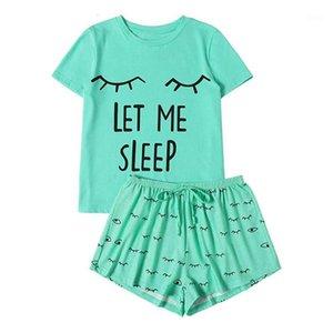 Two Piece Dress 2 Piece Set Tracksuit Women Short Sleeve Top And Shorts Casual Sweatshirt Two Pcs Sportwear T-Shirt Sleepwear Nightwear Set #6141