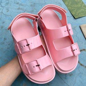 Women Rubber Sandal Mini Jelly Slippers Womens Scuffs Slipper Luxury designer sandals Flat Mule Adjustable Buckle Beach Flip Flops With