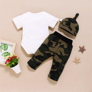3pcs Neonato Neonato Pagliaccetto Tops + Pantaloni lunghi Camo Hat Abiti Abbigliamento 0-18M Set 356 Y2