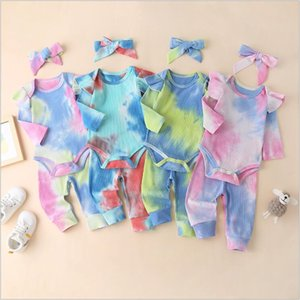 Kids Designer Clothes Girls Tie-dye Clothing Sets Long Sleeve Article Pit Striped Rompers Pants Headband Outfits Jumpsuits Trousers Hairband Suits B7777