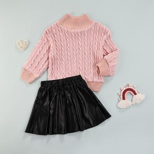 Clothing Sets Kid Girls Sweater Set, Knitted Solid Color Tops Thigh Long Pleated Leather Skirt, Kids