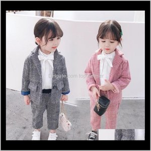 Blazers Baby Baby, & Maternity Drop Delivery 2021 Kids Girls Plaid Cotton Front Buttons Fashions Designer Children Clothing Suits Stylish Chi