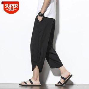 Summer Harem Pants Men Solid Color Casual Streetwear Joggers Ankle-length Sweatpants Trousers #IL43